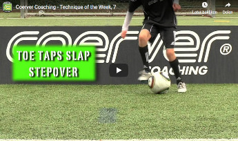 Coerver voetbaltraining - toe taps slap stepover