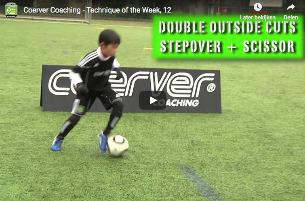 Dubbele tik + schaar + overstap - Coerver training